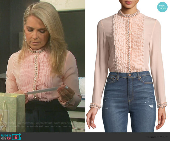 Arminda Blouse by Alice + Olivia worn by Jennifer Horton (Melissa Reeves) on Days of our Lives