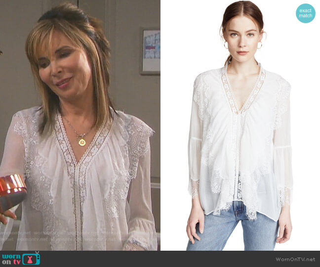Jaden Blouse by Alice + Olivia  worn by Lauren Koslow on Days of our Lives