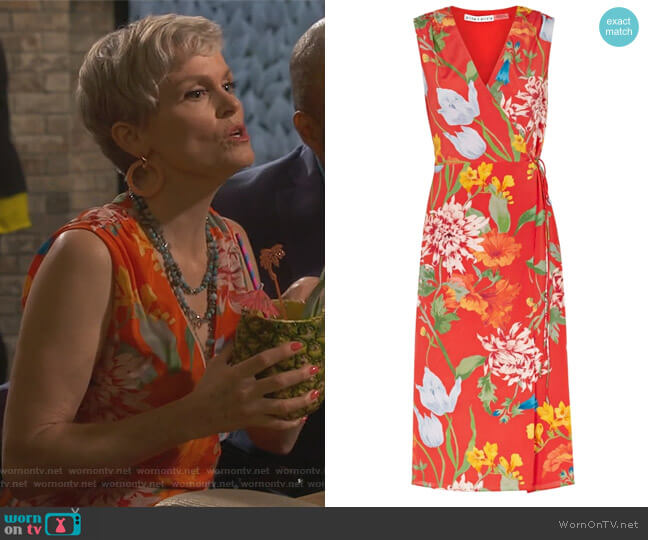 Tasia red printed silk wrap dress by Alice + Olivia worn by Stephnie Weir on Happy Together