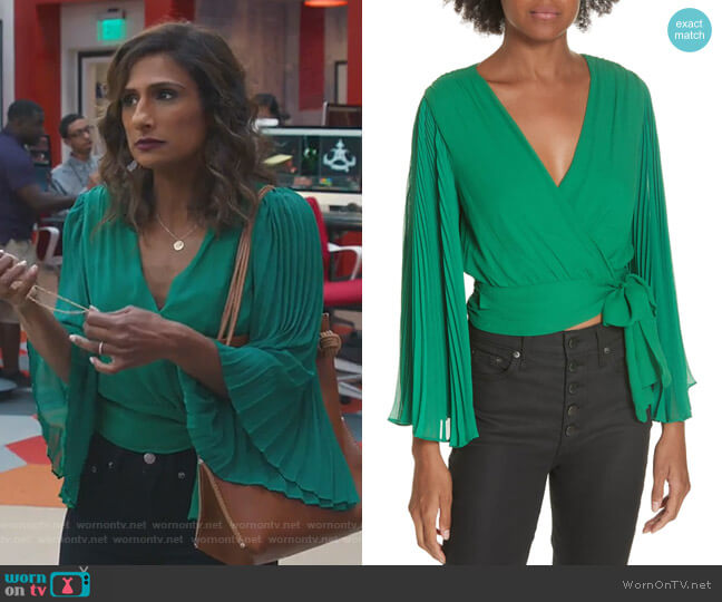 Emet's green pleated top on I Feel Bad