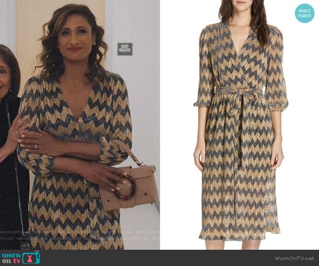 Katina Dress by Alice + Olivia worn by Emet Kamala-Sweetzer (Sarayu Blue) on I Feel Bad
