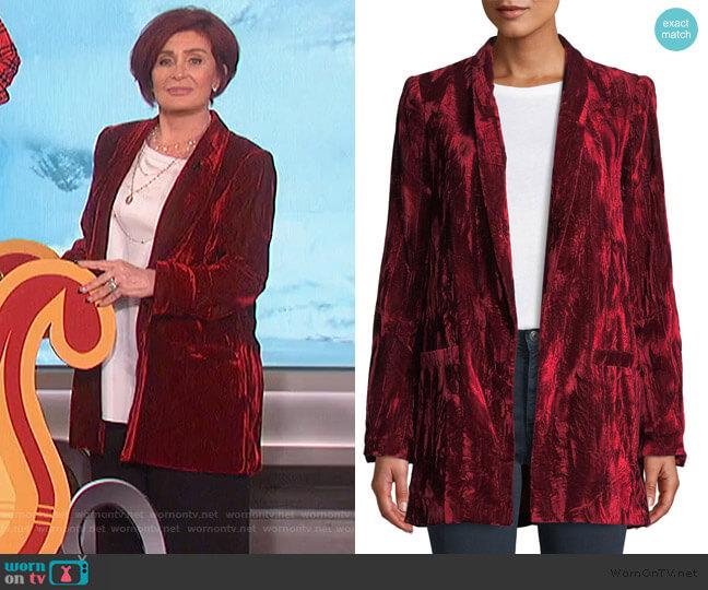 Kylie Crushed Velvet Shawl Collar Blazer by Alice + Olivia worn by Sharon Osbourne on The Talk