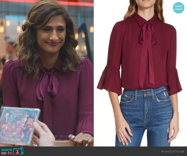 Maxima Blouse by Alice + Olivia worn by Emet Kamala-Sweetzer (Sarayu Blue) on I Feel Bad
