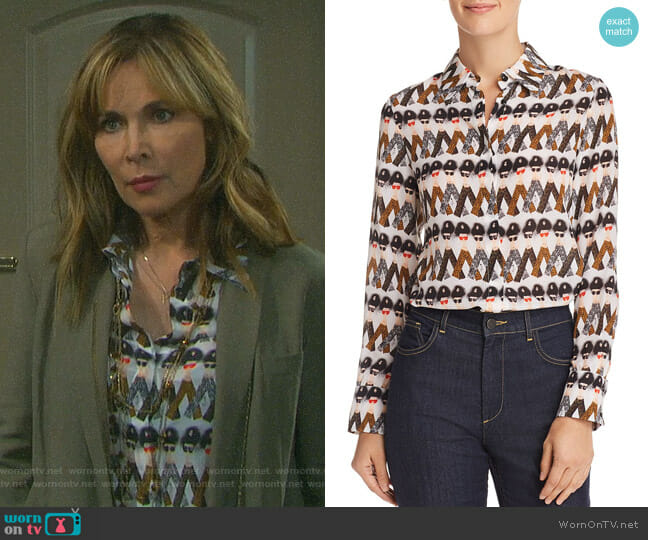 Kate's face print blouse on Days of our Lives