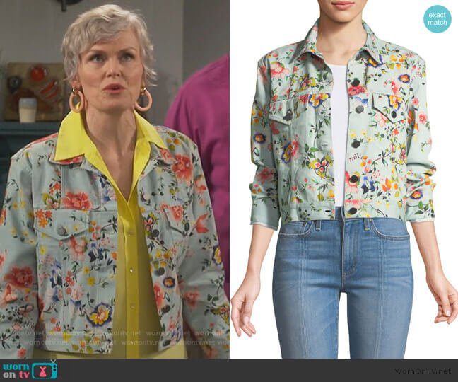 Chloe Floral-Print Cropped Denim Jacket by Alice + Olivia worn by Bonnie (Stephnie Weir) on Happy Together