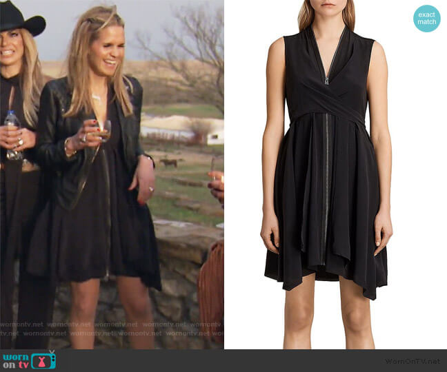 Jayda Zip-Front Silk Dress by All Saints worn by Jackie Goldschneider  on The Real Housewives of New Jersey
