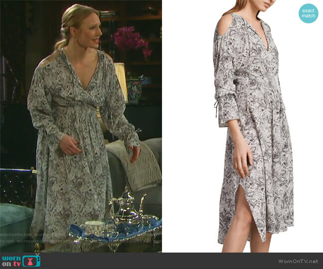 Lavete Paisley Cold Shoulder Midi Dress by All Saints worn by Abigail Deveraux (Kate Mansi) on Days of our Lives