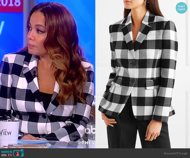Fenice gingham wool-blend twill blazer by Altuzarra worn by Sunny Hostin  on The View