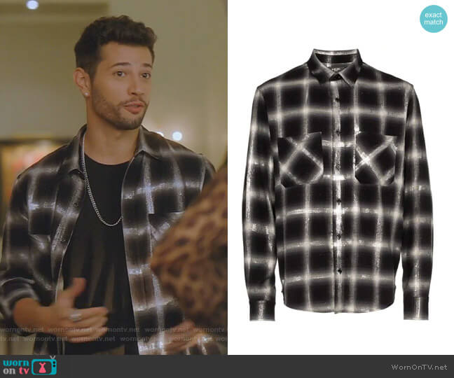 Glitter-Embellished Plaid Shirt by Amiri worn by Sam Flores (Rafael de la Fuente) on Dynasty
