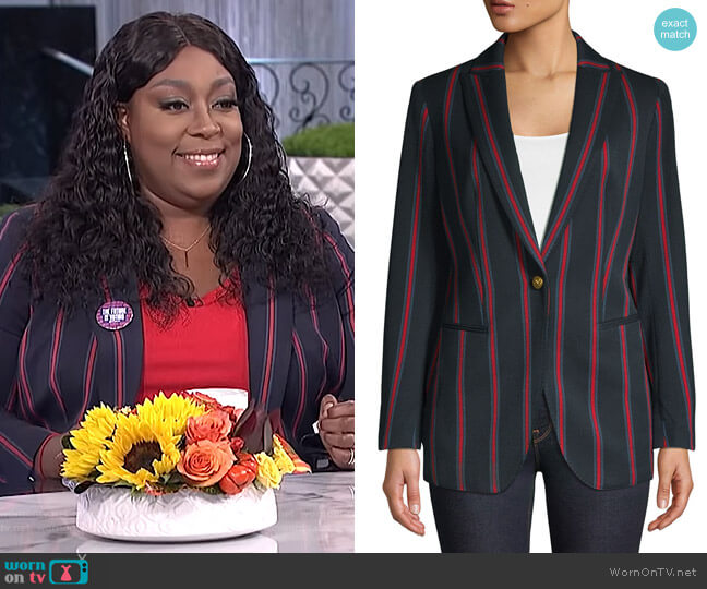 Striped Peak Lapel Blazer by Anne Klein worn by Loni Love  on The Real