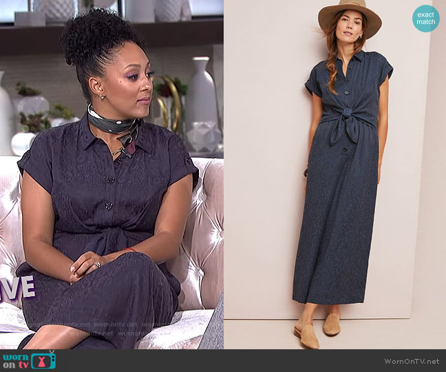 James Tie-Waist Jumpsuit by Anthropologie worn by Tamera Mowry  on The Real