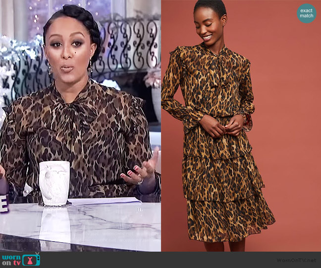 Ottod'Ame Tiered Leopard Dress by Anthropologie worn by Tamera Mowry (Tamera Mowry) on The Real