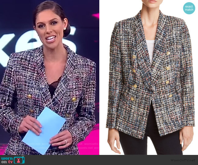 Tweed Double-Breasted Blazer by Aqua worn by Abby Huntsman  on The View