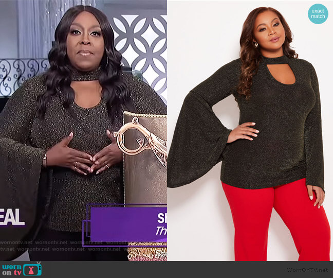 Metallic Keyhole Top by Ashley Stewart worn by Loni Love (Loni Love) on The Real