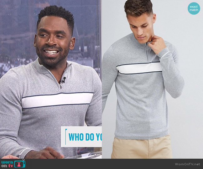 1/4 Zip Knitted Sweater with Sport Stripe by Selected Homme worn by Justin Sylvester  on E! News