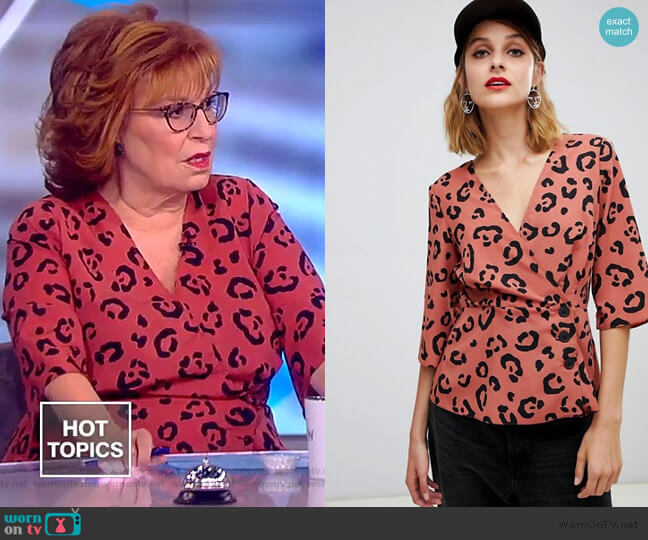 Wrap Top with Button Detail in Animal Print by ASOS worn by Joy Behar  on The View
