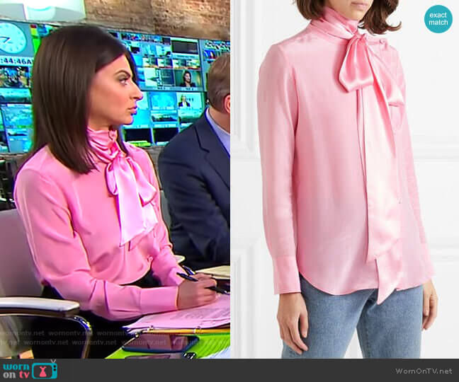 Asymmetric Pussy-Bow Silk-Crepe Blouse by Adam Lippes worn by Bianna Golodryga  on CBS This Morning