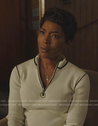 Athena's white half-zip ribbed sweater on 9-1-1