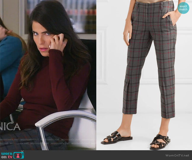 Cropped checked wool-blend tapered pants by Brunello Cucinelli worn by Laurel Castillo (Karla Souza) on HTGAWM