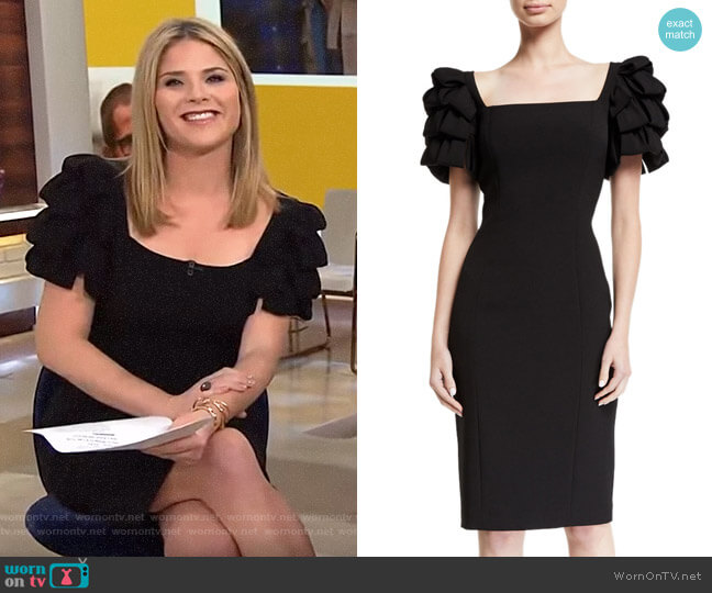 Square-Neck Cocktail Dress w Looped Sleeves by Badgley Mischka worn by Jenna Bush Hager  on Today
