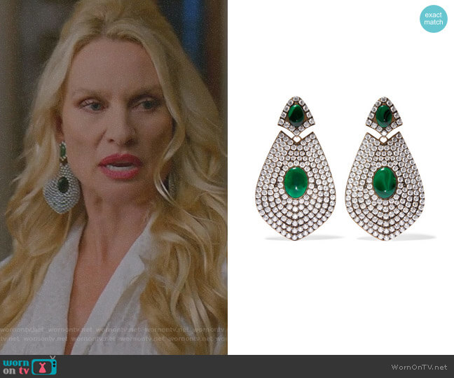 Gold-tone, Resin and Crystal Clip Earrings by Balenciaga worn by Alexis Carrington (Elaine Hendrix) on Dynasty