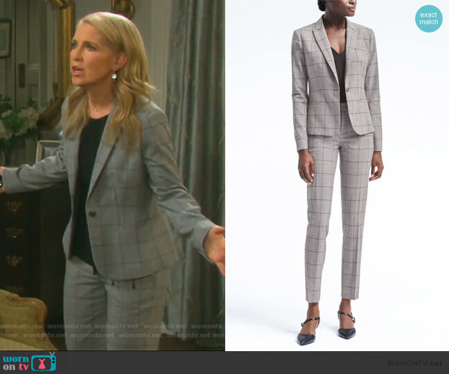 Windowpane Blazer and pants by Banana Republic worn by Jennifer Horton (Melissa Reeves) on Days of our Lives