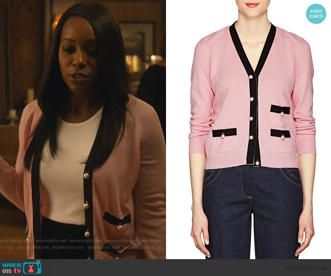 Embellished Knit Cashmere Cardigan by Barneys worn by Michaela Pratt (Aja Naomi King) on HTGAWM