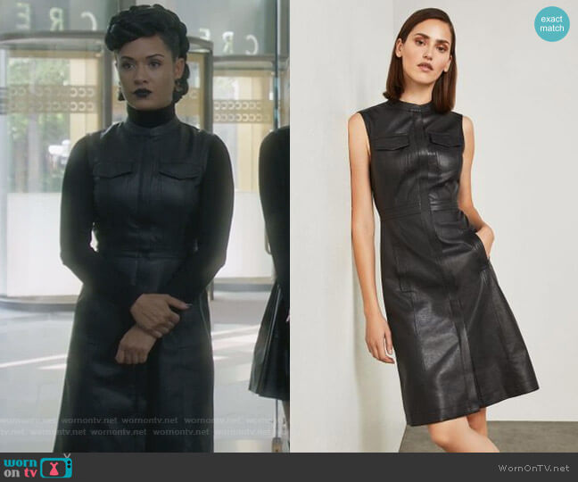 Allexandria Faux Leather Dress by Bcbgmaxazria worn by Reeva Payge (Grace Byers) on The Gifted