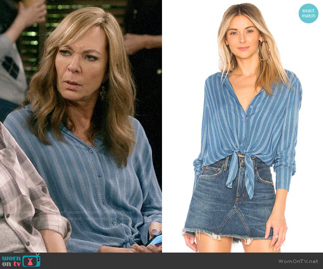 Bella Dahl Striped Tie Front Shirt worn by Bonnie Plunkett (Allison Janney) on Mom