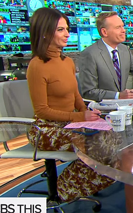 Bianna's orange turtleneck sweater and printed skirt on CBS This Morning