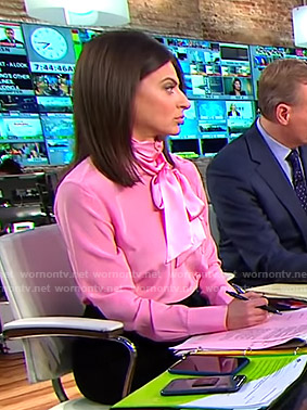 Bianna's pink tie neck blouse on CBS This Morning