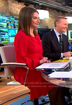 Bianna's red bow front dress on CBS This Morning