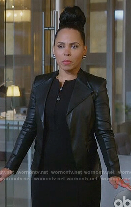 Tegan's black leather peplum jacket on How to Get Away with Murder