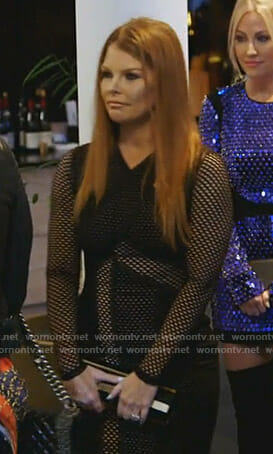 Brandi's black mesh dress on The Real Housewives of Dallas