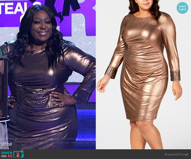 Plus Size Metallic Bodycon Dress by Calvin Klein worn by Loni Love  on The Real