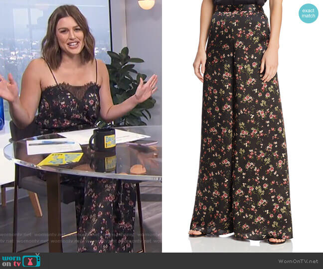 Tommy Wide-Leg Silk Pants by Cami NYC worn by Carissa Loethen Culiner  on E! News