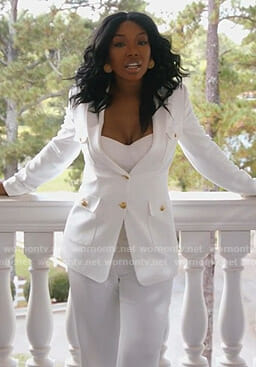 Cassie's white suit with gold buttons on Star