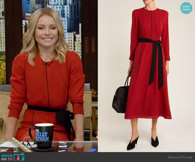 Tie-Waist Voile Midi Dress by Cefinn worn by Kelly Ripa on Live with Kelly & Ryan