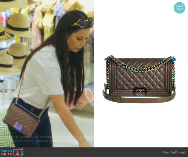 Boy Bag in Bronze Iridescent Rainbow by Chanel worn by LeeAnne Locken  on The Real Housewives of Dallas