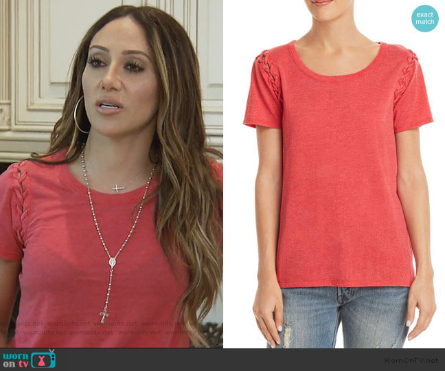 Lace-Up Sleeve Tee by Chaser worn by Melissa Gorga  on The Real Housewives of New Jersey