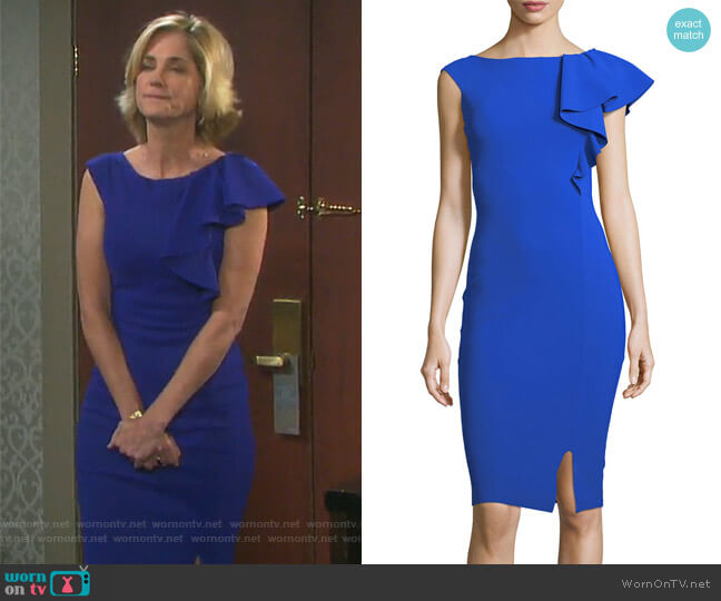 Chitra Asymmetric Ruffle Cocktail Sheath Dress by Chiara Boni La Petite Robe worn by Kassie DePaiva on Days of our Lives