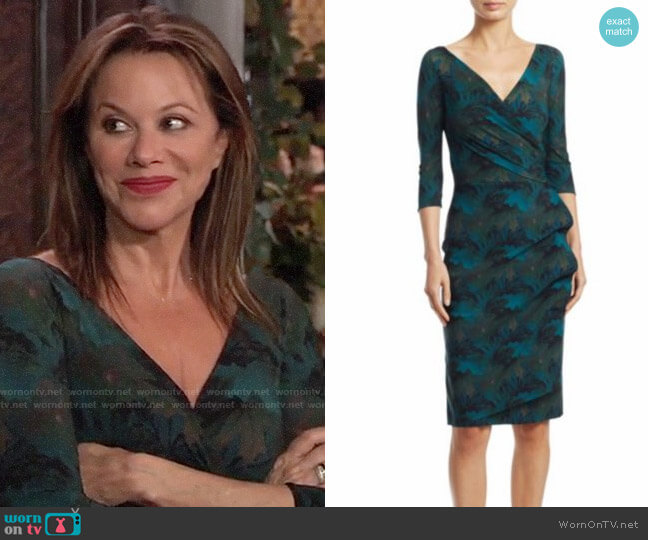 Chiara Boni La Petite Robe Three Quarter Sleeve Wrap Dress in Maple Green worn by Alexis Davis (Nancy Lee Grahn) on General Hospital