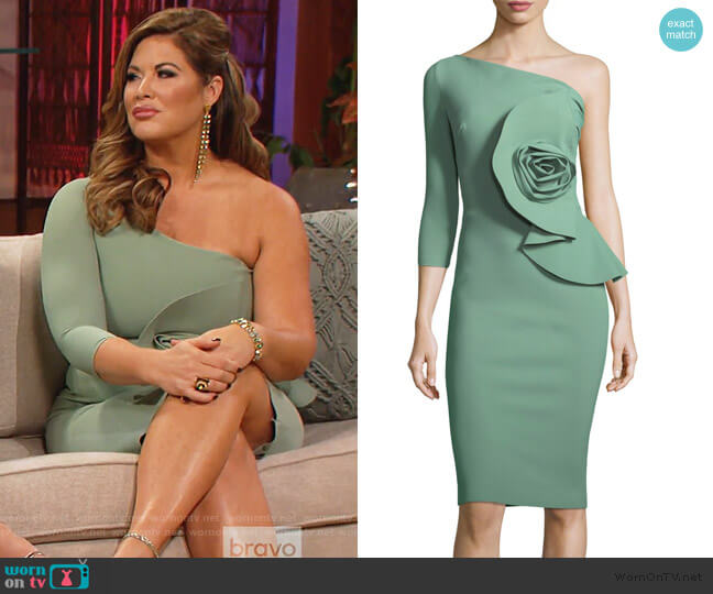 Noriko One-Shoulder Cocktail Dress with Rosette Detail by Chiara Boni La Petite Robe worn by Emily Simpson  on The Real Housewives of Orange County