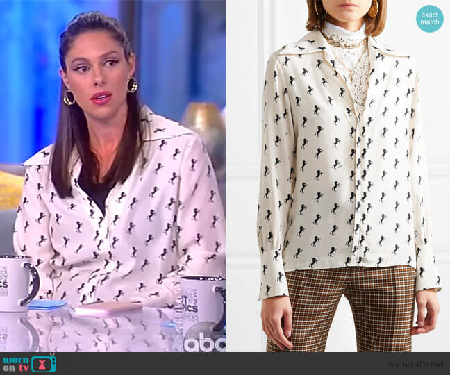 Printed silk-crepe blouse by Chloe worn by Abby Huntsman  on The View