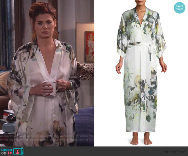 Limelight Long Silk Robe by Christine Designs worn by Grace Adler (Debra Messing) on Will & Grace