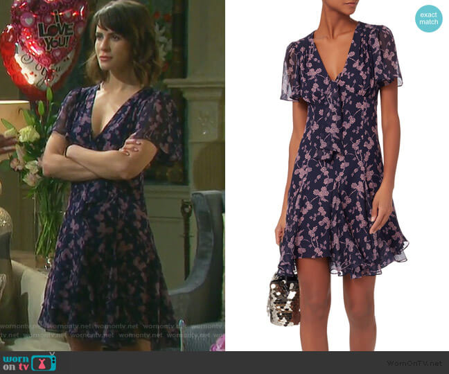 Annali Tie Front Mini Dress by Cinq a Sept worn by Sarah Horton (Linsey Godfrey) on Days of our Lives