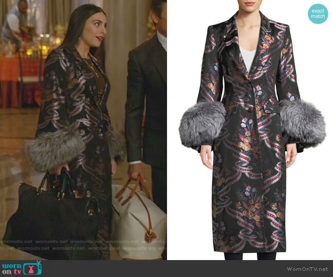 Blanche Floral Coat by Cinq a Sept worn by Cristal Jennings (Ana Brenda Contreras) on Dynasty