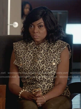 Cookie's leopard sleeveless denim jacket on Empire
