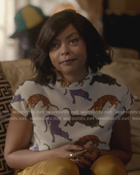 Cookie's white tiger printed top on Empire