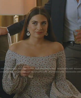 Cristal's floral off-shoulder dress on Dynasty